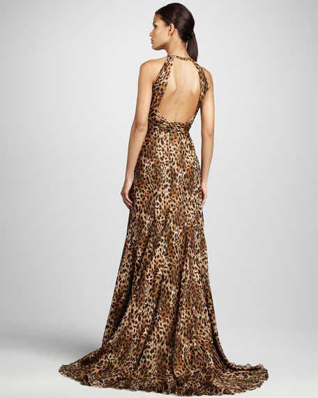 Halter Open-Back Animal-Print Gown