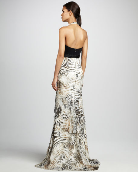 Halter Zebra-Print Gown