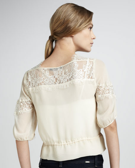 Perfect Escape Lace-Detail Top, Milk