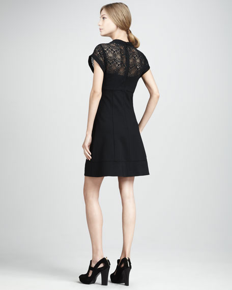 Shadow Lace-Top Dress