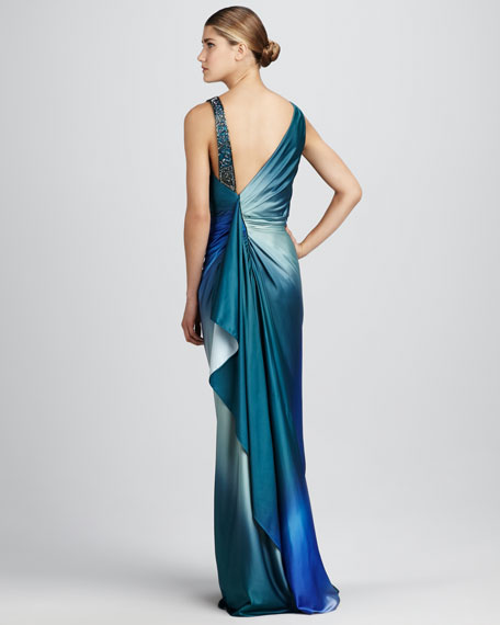 Ruched Bead-Shoulder Gown