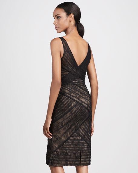 V-Neck Overlay Cocktail Dress