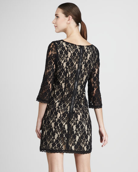Sheer-Sleeve Lace Dress