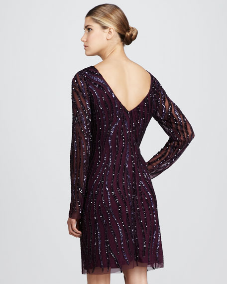 Long-Sleeve Beaded Dress