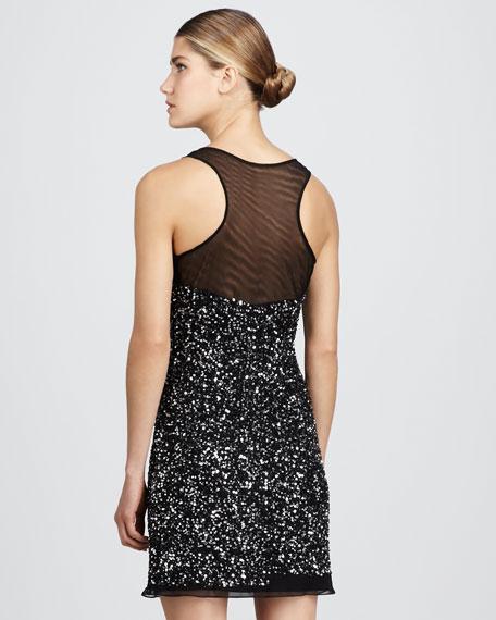 Beaded Illusion-Neck Dress