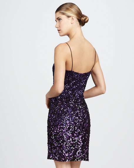 Spaghetti-Strap Sequins Cocktail Dress