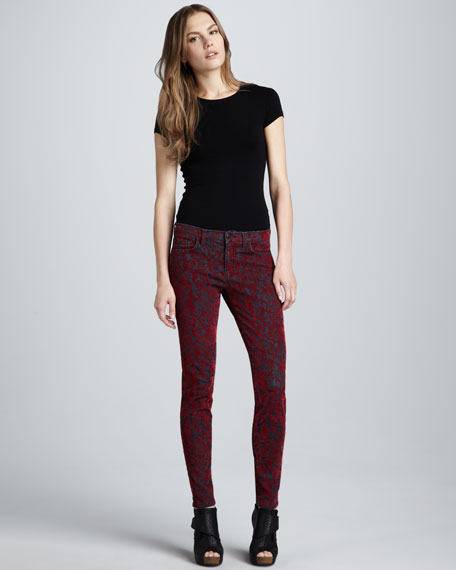 811 Red Brocade Mid-Rise Skinny Jeans
