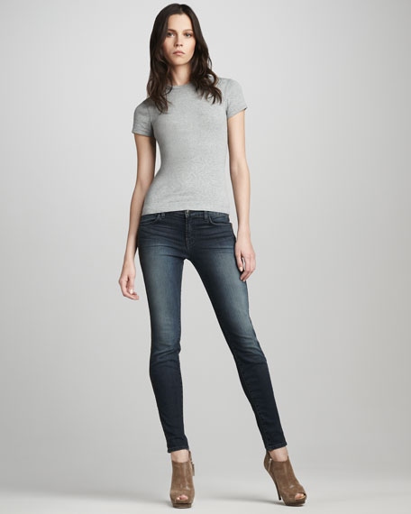8220 Kacie Mid-Rise Leather-Side Skinny Jeans