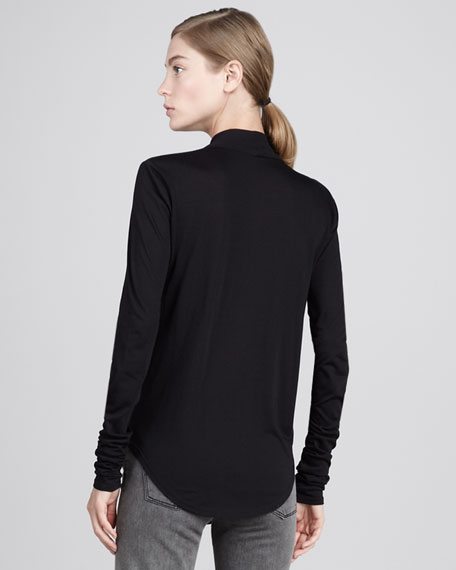 Cowl-Neck Jersey Top, Black