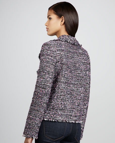 Drape-Front Tweed Jacket