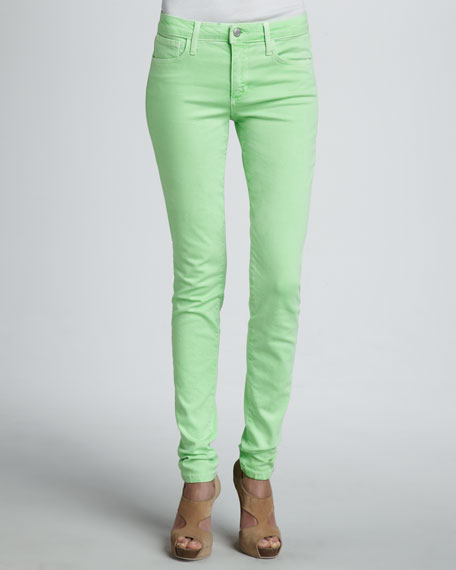 High-Rise Skinny Ankle Jeans, Lime