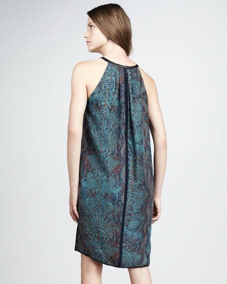 Python-Print Halter Dress, Emerald
