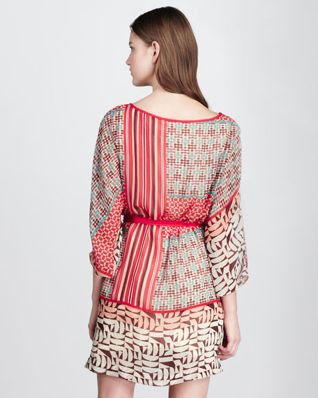 Mixed-Print Tie-Waist Dress