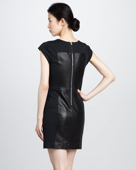 Leather-Bustier Ponte Dress