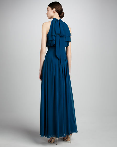 High-Neck Ruffled Gown