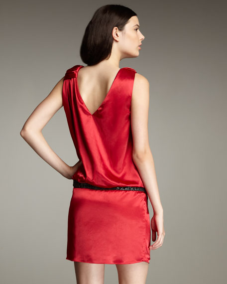 Drop-Waist Satin Dress