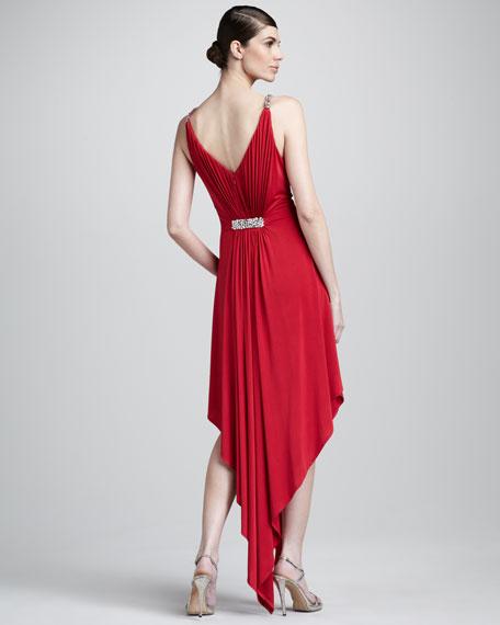 Rhinestone-Shoulder High-Low Dress