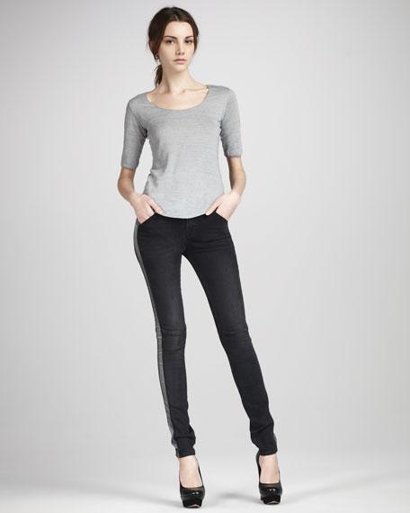 Bedford Contrast-Seam Skinny Jeans