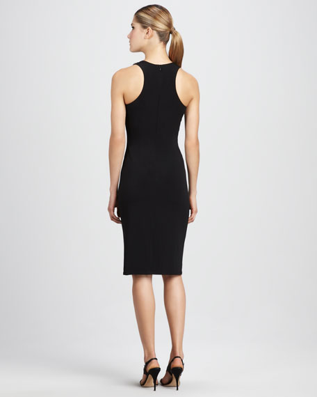 Bead-Shoulder Ruched Cocktail Dress
