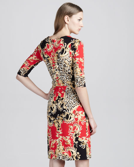 Baroque Mixed-Print Dress