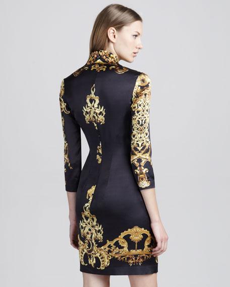 Baroque-Print Satin Dress