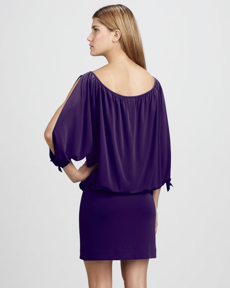 Cold-Shoulder Blouson Dress