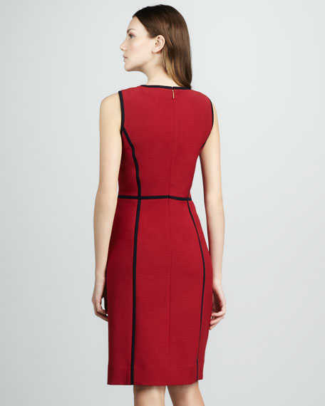 Contrast-Piping Dress