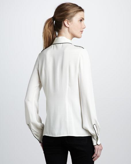 Lara Tipped Shirt, Ecru