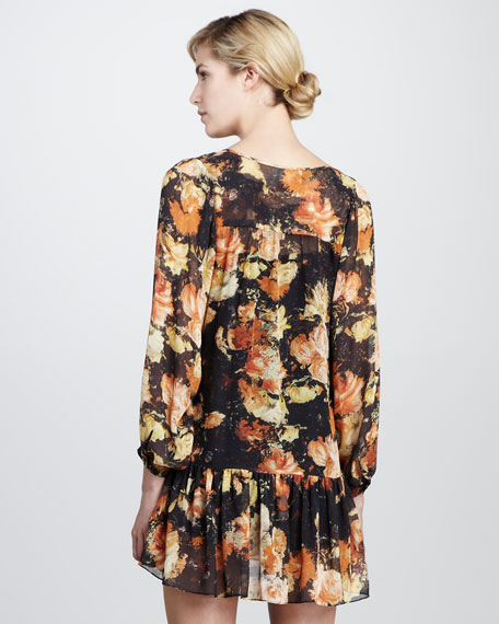 Floral-Print Chiffon Dress