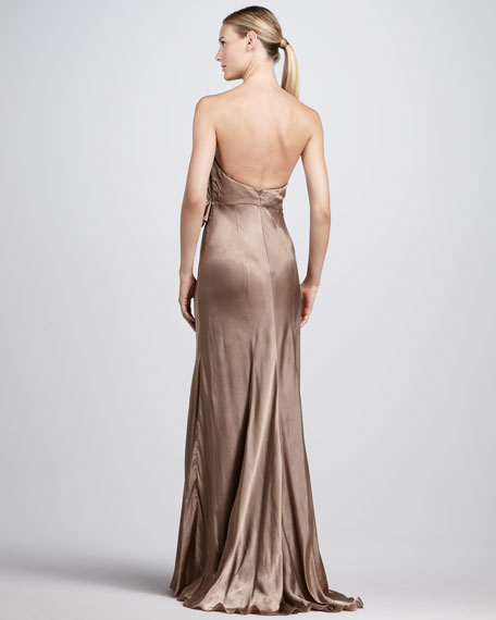 Strapless Folded-Bodice Gown