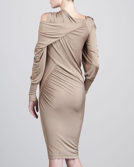 Draped-Shoulder Jersey Dress, Facepowder