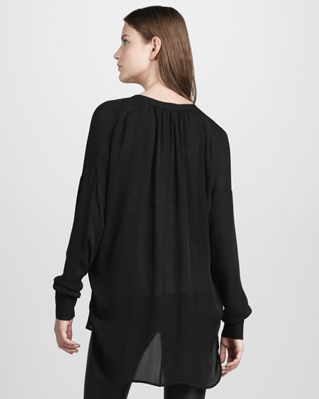 Shirred V-Neck Silk Blouse