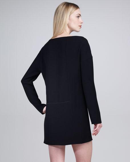 Square-Detail Shift Dress