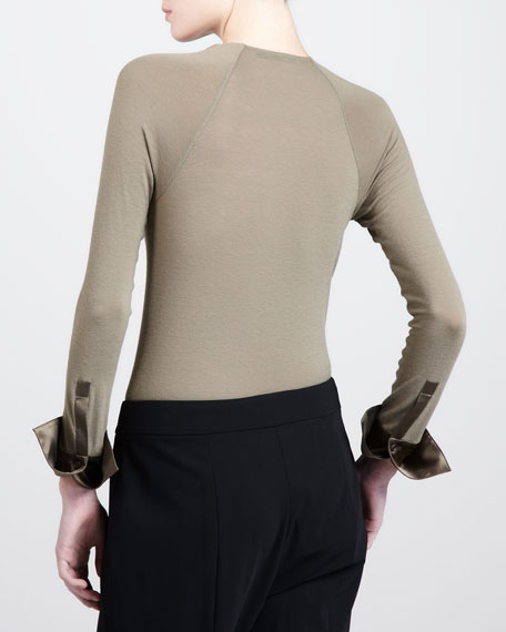 Long-Sleeve Surplice Bodysuit
