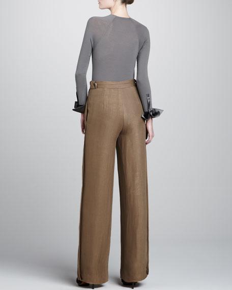 Wide-Leg Tissue Crepe Trousers, Shadowdust