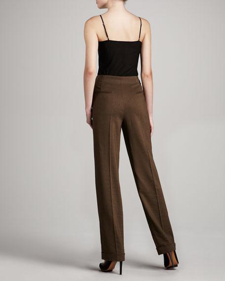 Wide-Leg Linen-Blend Trousers