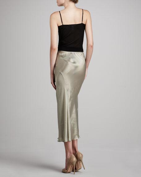 Liquid Satin Tea-Length Skirt