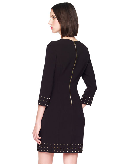Stud-Trim Crepe Dress