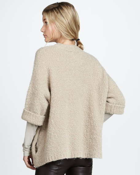 Knit-Sleeve Silk Tee