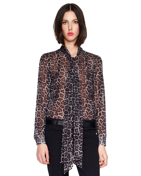 Printed Tie-Neck Blouse, Women's