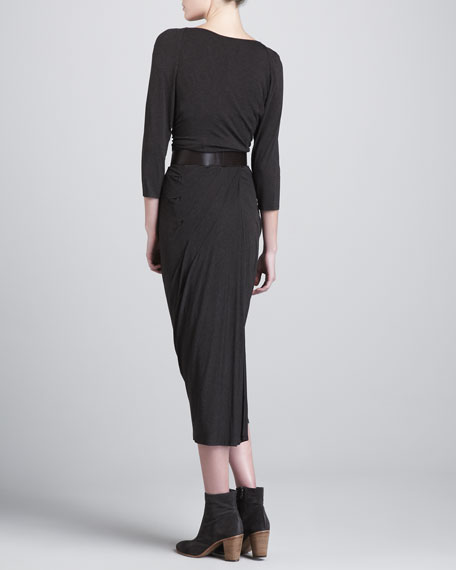 Fitted Cowl-Neck Midi Dress, Smoky Brown