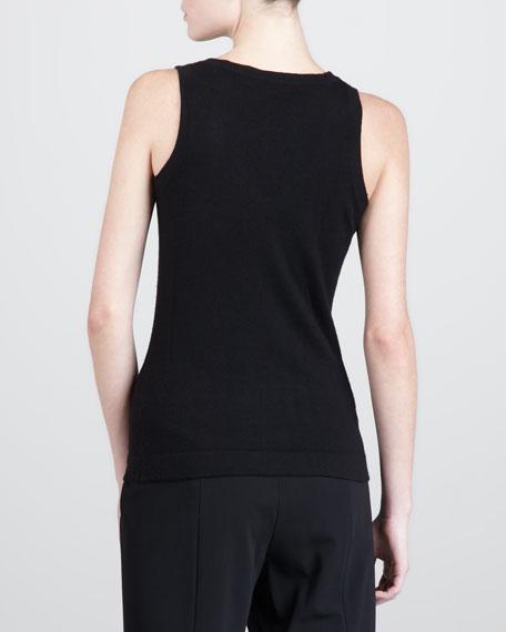 Sleeveless V-Neck Cashmere Top, Black