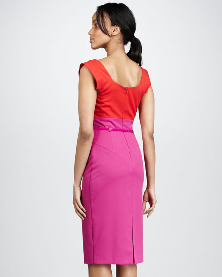 Jackie Two-Tone Sheath Dress, Hibiscus/Pink