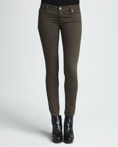 Five-Pocket Skinny Jeans, New Olive