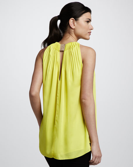 Isaye Pleat-Detail Tank, Sunkist