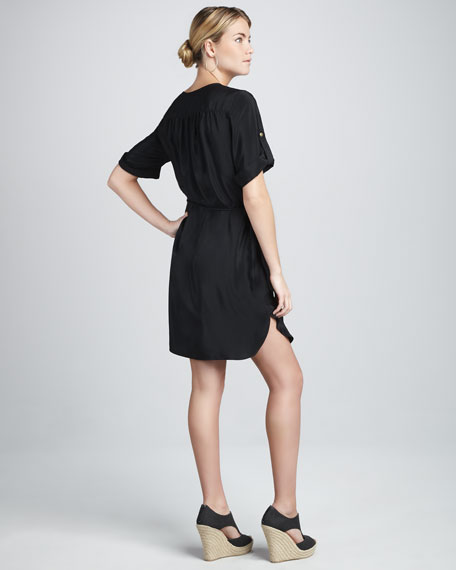 Button-Front Silk Dress