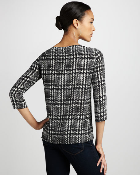 Houndstooth-Print Blouse