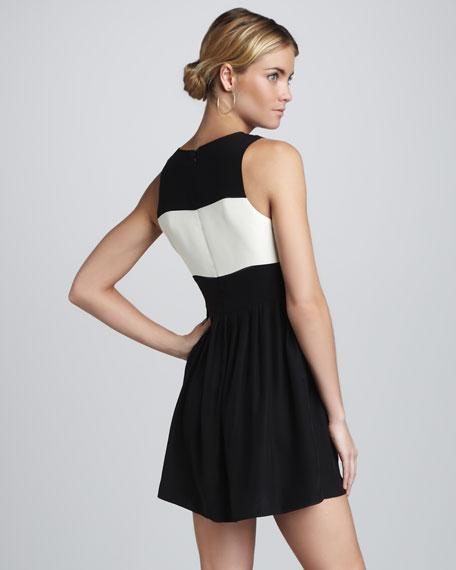Sheer-Panel Colorblock Dress