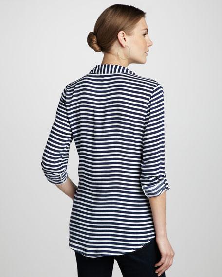 Striped Half-Button Top