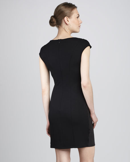 Ponte-Back Faux-Leather Dress